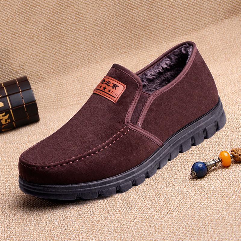 老北京布鞋男冬新款加绒保暖棉鞋中老年爸爸鞋休闲鞋老人软底男鞋