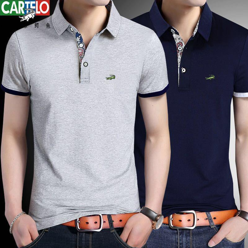 [Cartier Crocodile] Authentic Men's Business Polo 95 Cotton Short Sleeve Breathable Summer T-shirt For Men