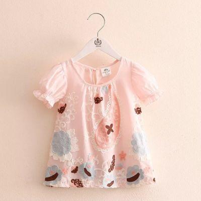 2018夏季新款童装 女童娃娃衫短袖刺绣小花韩版T恤款裙衫