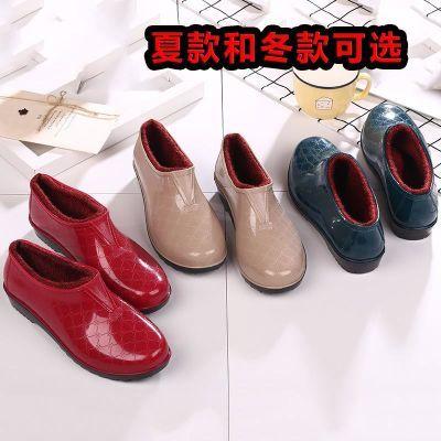 低帮防水鞋雨鞋雨靴胶鞋套鞋防滑厨房加棉加绒加厚保暖女冬季