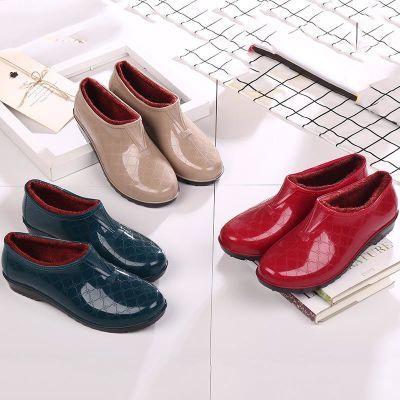 低帮浅口加绒保暖棉雨鞋雨靴防水鞋水靴胶鞋套鞋女鞋防滑冬季