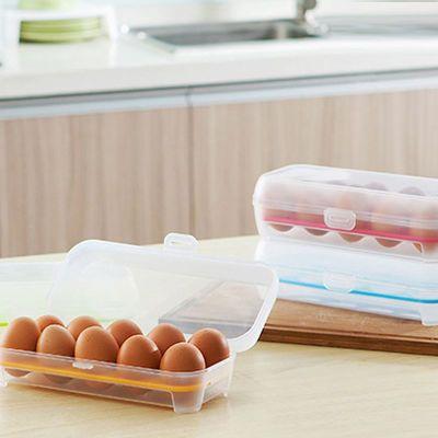 冰箱鸡蛋盒食物保鲜盒鸡蛋托鸡蛋格厨房透明塑料盒子多色随机