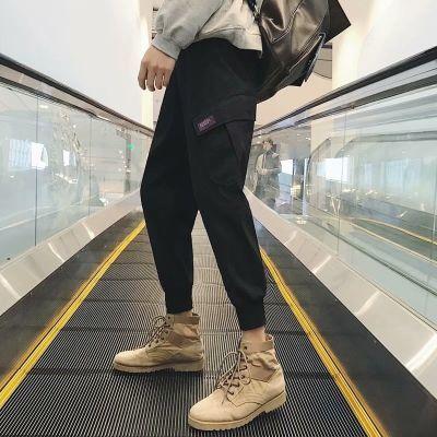 多口袋ins工装裤男潮牌裤子宽松束脚小脚哈伦裤余文乐秋冬嘻哈裤