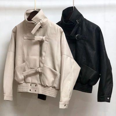 品质保证韩版宽松bf风机车PU皮衣女短款长袖显瘦百搭皮夹克外套