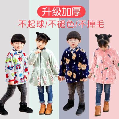 秋冬男女童法兰绒罩衣儿童长袖拉链护衣女孩加厚羽绒服防脏罩衣衫