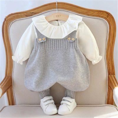 春装套装女0一1岁 婴儿衣服6-12个月男婴幼儿公主爬服背带裤2春装