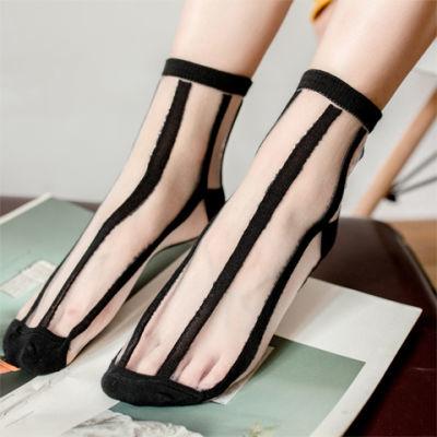 5双装日系夏超薄女韩版透明玻璃丝袜水晶袜波点竖纹方格条纹袜
