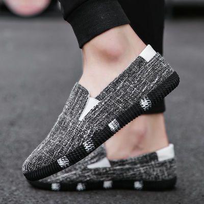 新款潮流男士休闲鞋亚麻鞋子一脚蹬懒人鞋半拖套脚帆布鞋韩版男鞋