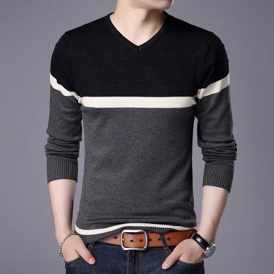 男士V领毛衣男装韩版格子修身针织衫休闲t恤衫青年线衣潮