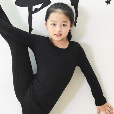 儿童白色长袖t恤纯棉舞蹈练功男女童宝宝黑色打底衫纯色紧身上衣