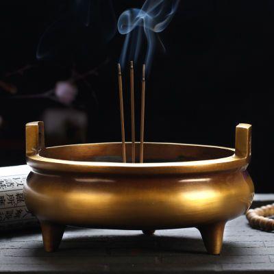 佛教用品 纯铜香炉 大号熏香炉 供佛 香具香道用品仿古大明宣德炉—品牌女装网