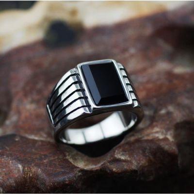 欧美复古黑曜石戒指男士宝石转运钛钢不褪色指环男 刻字饰品 包邮
