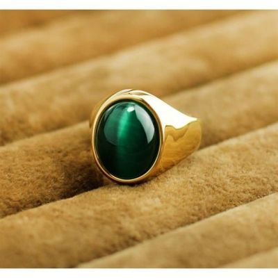 刻字猫眼石戒指 复古男士仿金转运欧美宝石指环 手饰品男礼物包邮