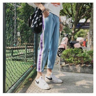 ins超火的牛仔裤男士秋季港风九分裤韩版潮流修身小脚浅蓝色裤子