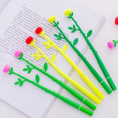 韩国创意文具可爱仿真植物花朵软胶硅胶中性笔水笔奖品小礼物学习