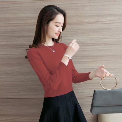 女针织衫毛衣打底衫秋冬小个子短款收腰圆领套头外穿高腰打底衫
