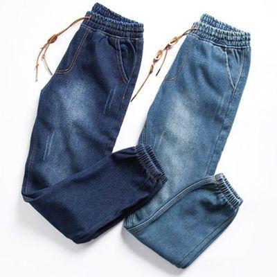 夏季束脚学生修身小脚秋季日系男士裤子牛仔裤男长裤宽松哈伦裤子