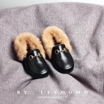 儿童二棉鞋女童2018新款冬季棉瓢鞋鞋加绒公主毛毛鞋儿童二棉鞋女