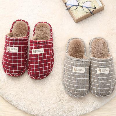 冬季家居家用棉拖鞋女包跟情侣保暖室内防滑厚底月子毛毛棉拖鞋男