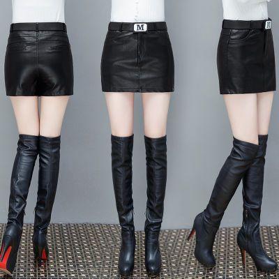 皮裤裙女秋冬新款韩版假两件超短裙包臀裙pu皮阔腿短裤女高腰靴裤