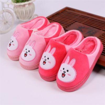 秋冬季儿童棉拖鞋中大童保暖包跟男童女童防滑小孩棉鞋室内毛毛鞋