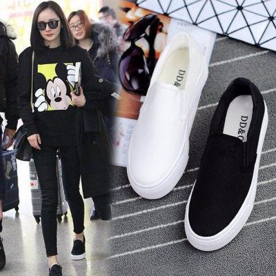 懒人鞋女学生韩版2018新款帆布鞋女一脚蹬透气黑色乐福鞋杨幂同款