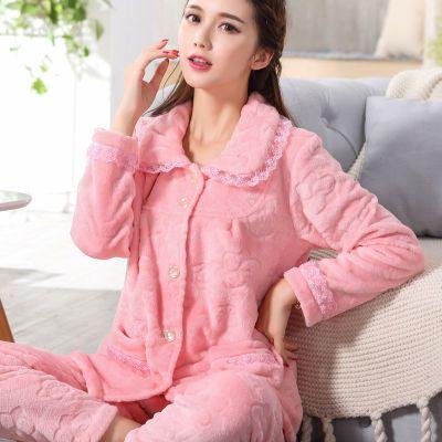 秋冬睡衣女珊瑚绒加厚加绒保暖开衫家居服中年妈妈法兰绒睡衣套装