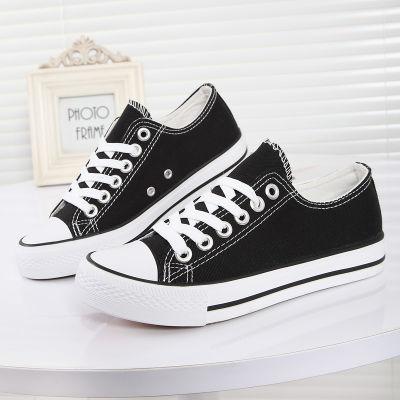 帆布鞋女学生韩版休闲平底板鞋黑白色原宿运动鞋子网红ins同款春