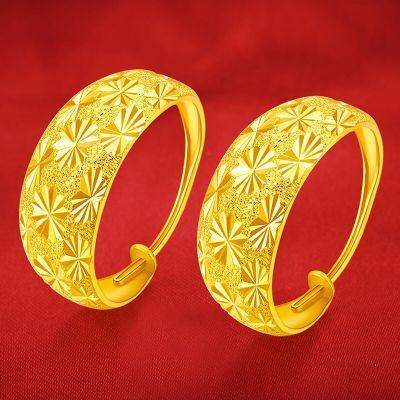 网红新款经典款真假黄金耳环仿金礼物久不掉色沙金耳钉饰品耳饰
