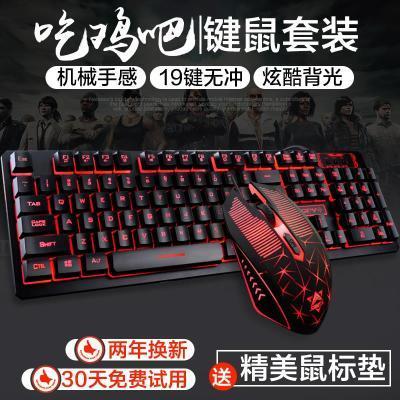 游戏键盘鼠标有线迷你笔记本吃鸡cf电脑机械套装青轴便携宏外设整