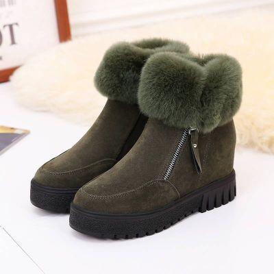 【真兔毛】加绒厚底内增高短筒雪地靴毛毛短靴女冬季新款棉鞋2020
