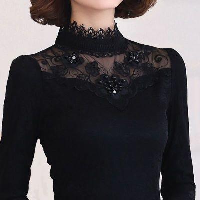 2020新款秋季女保暖冬季上衣长袖t恤女装大码加绒加厚蕾丝打底衫
