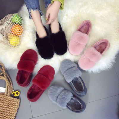 毛毛保暖女鞋子女学生韩版百搭韩国学院风chic秋季新款平底鞋棉拖