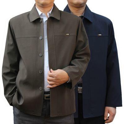 中老年人男士春秋款外套单排纽扣子休闲爸爸装大码宽松夹克衫上衣