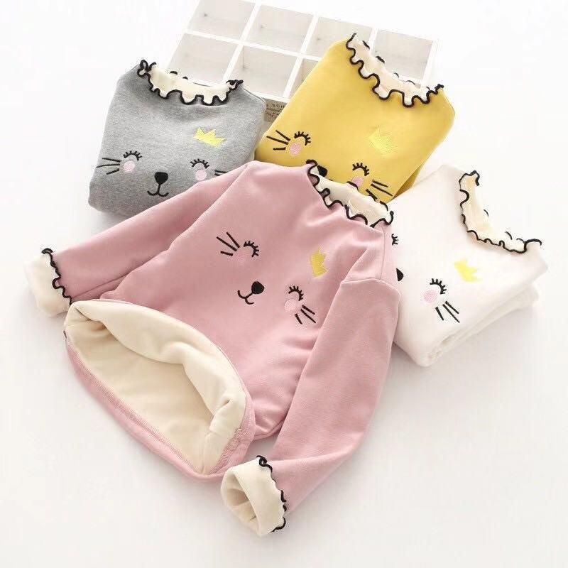 女童加绒加厚打底衫女宝宝上衣中小童秋冬装长袖T恤小女孩保暖衣