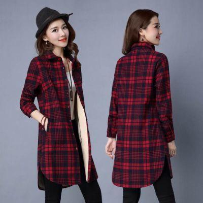 上衣女冬日格格休闲遮肚一体女学生洋气中长码口保暖秋装格子衬衫