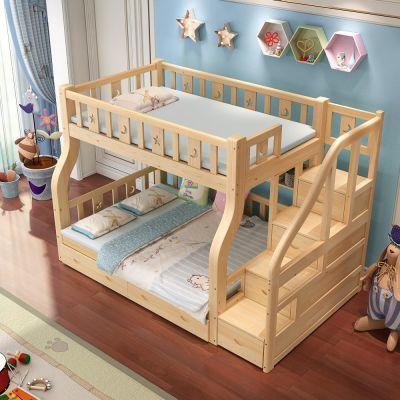 实木上下床高低床双层床子母床松木床儿童床上下铺床成人现代简约