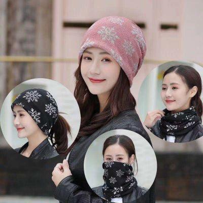 帽子女秋冬包头帽时尚套头帽韩版潮头巾帽多用围脖睡帽双层月子帽