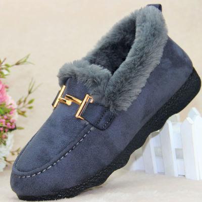 女士棉鞋冬季新款加绒时尚2019加厚二棉鞋妈妈鞋一脚蹬防滑软底鞋