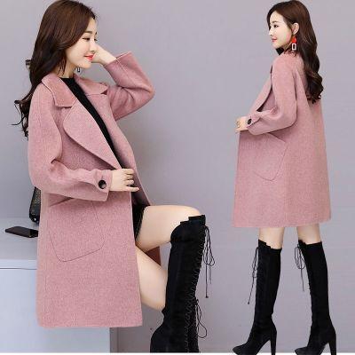 【龙凤呢】 毛呢外套女2018秋冬装新款女装中长款韩版时尚西装领