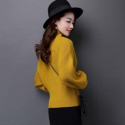 半高领灯笼袖毛衣女套头韩版短款宽松加厚打底针织衫秋冬季打底衫
