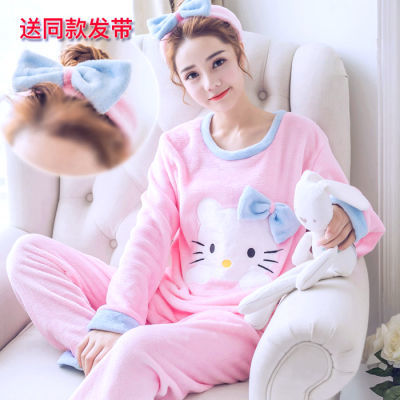30款睡衣女珊瑚绒韩版春秋冬季法兰绒加厚长袖韩版可爱套装家居服