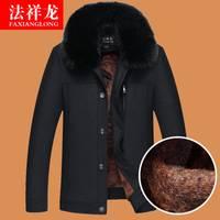 爸爸冬装外套加绒加厚款冬季男装中年棉衣40棉服50岁中老年人棉袄