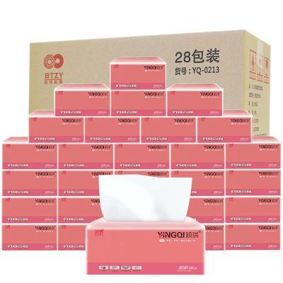 【28包】颖琪餐巾纸抽纸巾原木卫生纸家庭装母婴纸巾婴儿原生纯木