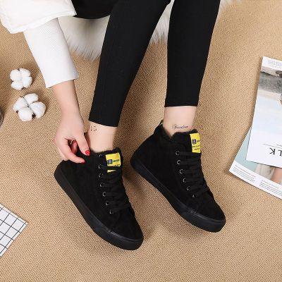人本棉鞋女冬季保暖鞋加绒平底板鞋韩版学生百搭休闲高帮帆布鞋子主图