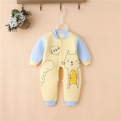 春秋夹棉加厚男女宝宝保暖连体衣冬季婴儿开档婴儿哈衣长袖爬服