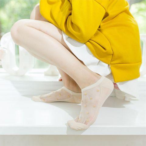 便宜的【8双装】袜子女薄款透明玻璃丝水晶丝袜短袜隐形袜女士防滑船袜