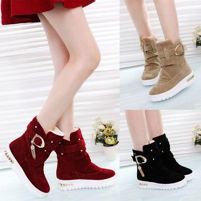 冬季靴子加绒加厚棉鞋棉靴雪地靴女款学生韩版百搭平底短靴马丁靴