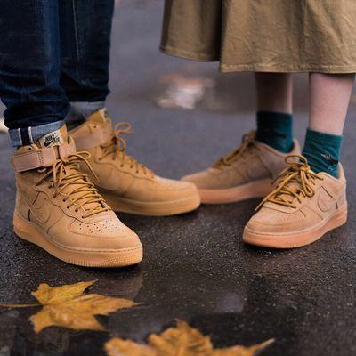 AF1空军一号秋季男鞋女鞋高帮小麦色板鞋低帮运动休闲情侣小白鞋