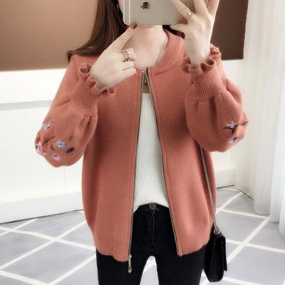 针织春秋新款短款绣花荷叶袖针织衫开衫宽松女装韩版拉链毛衣外套
